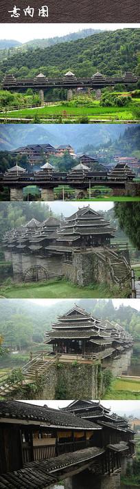 乡村廊桥建筑景观  JPG