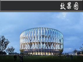 圆形创意玻璃建筑效果图PSD PSD