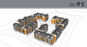 中式风格校园宿舍建筑模型