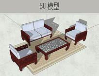 中式沙发茶几模型