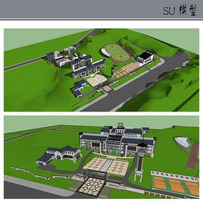 中式山地学校模型