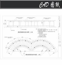 钢结构圆弧长廊平面图 dwg