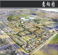 固安工业区住宅手绘鸟瞰图