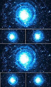 蓝色星空视频旋转led背景视频