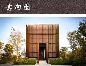 木质镂空建筑装饰立面