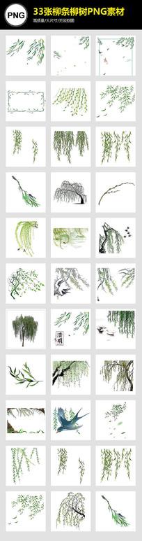 清明节春季绿色柳条PNG素材