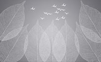现代简约树叶叶脉纹理背景墙