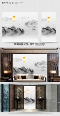 新中式电视背景墙