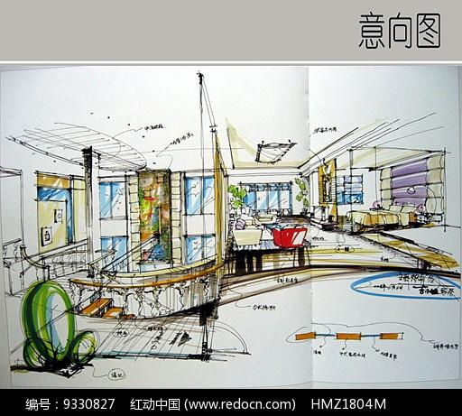 原创设计稿 方案意向 手绘素材 别墅二楼室内设计  请您分享: 素材