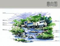 别墅建筑水景手绘透视图