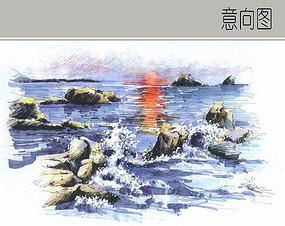 波涛海浪手绘特写