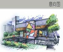 创意艺术建筑手绘透视图