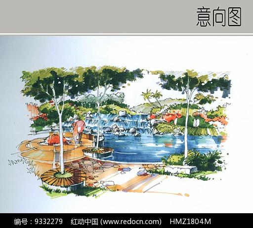 叠水景观手绘透视图