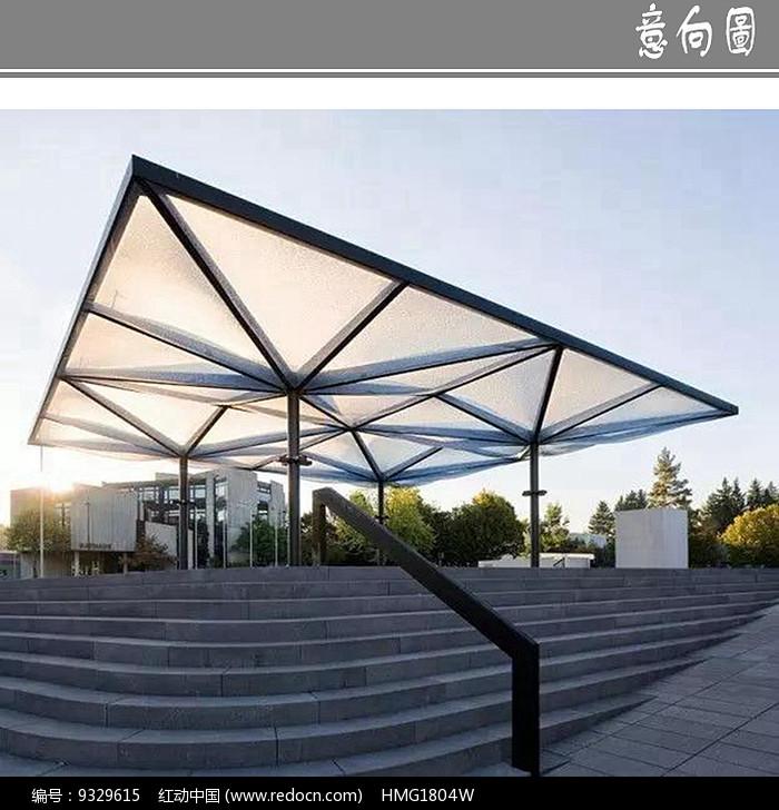 广场现代景观廊架意向图片