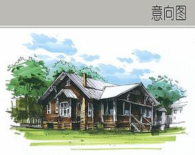 木屋别墅景观手绘图