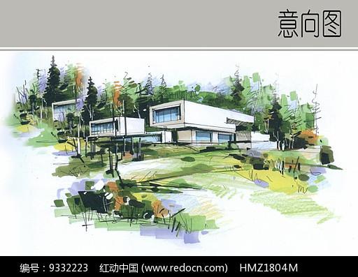 现代建筑景观手绘效果图