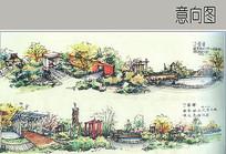 小区景观手绘效果图