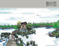 中式文化生态园效果图