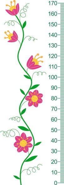 卡通花朵升高测量贴纸