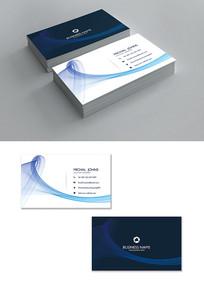 蓝色曲线企业个人名片