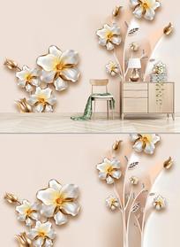 3D浮雕花朵欧式电视背景墙