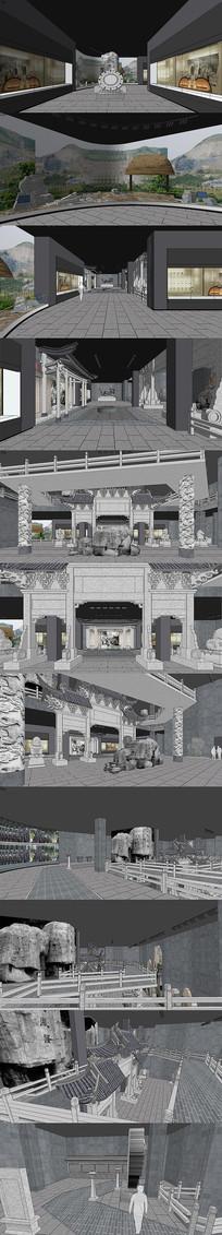 博物馆展厅室内设计SU模型