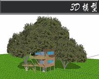 大树底下的防腐木木屋SU模型