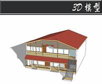 东南亚风格活动木板房SU模型