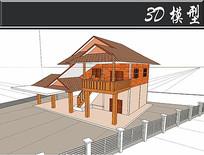 东南亚风格木房屋建筑SU模型