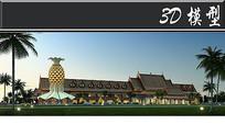 东南亚风古建筑3D模型