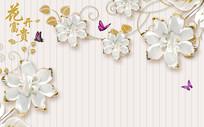 浮雕花朵富贵电视背景墙壁画
