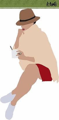 喝咖啡的女人 PSD