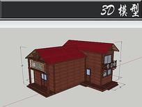 红色屋顶防腐木木屋SU模型