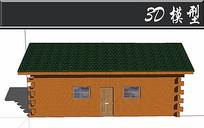 绿色屋顶防腐木木屋SU模型