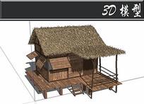 茅草屋顶防腐木小木屋SU模型