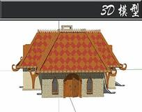 民族风创意防腐木木屋SU模型