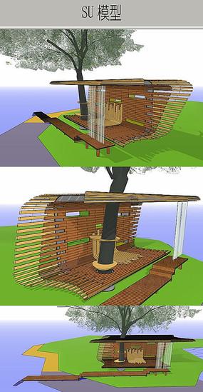 木平台廊架休憩构筑物模型