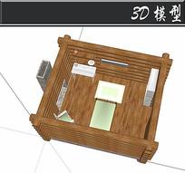 木头交叉结合小卧室SU模型