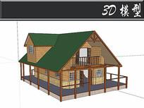 欧美风格小木屋SU模型