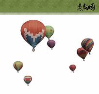 热气球ps素材
