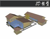 肉色屋顶防腐木木屋SU模型