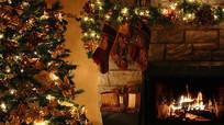 圣诞节圣诞树壁炉视频