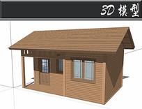 实木防腐木木屋SU模型