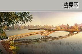 现代木质网格长桥