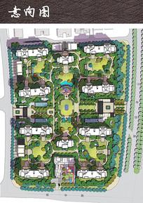 小区建筑景观彩平图