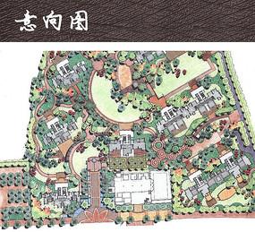 小区整体景观手绘平面图 JPG