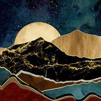 中式几何金色山峰阳光装饰画