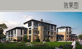 中式酒店建筑效果图