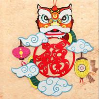 中式喜庆舞狮灯笼装饰舞狮墙