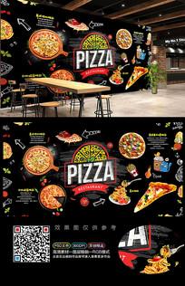 创意披萨店背景墙装饰画